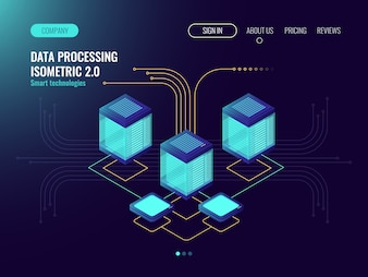 Data processing concept, server room, web hosting concept, abstract technology objects