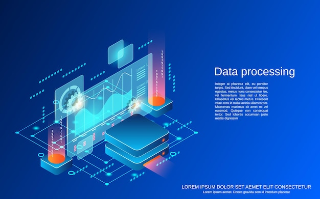 Data processing flat 3d isometric vector concept illustration