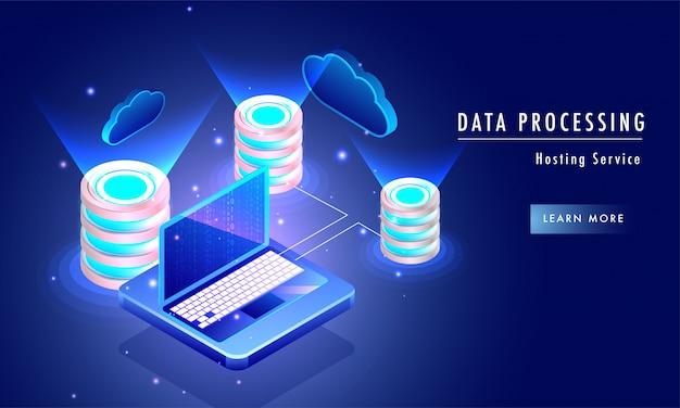 Data processing hosting service concept.