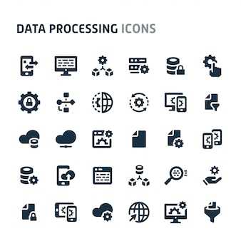 Data processing icon set. fillio black icon series.