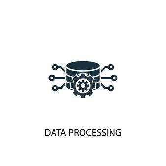 Значок обработки данных. простая иллюстрация элемента. дизайн символа концепции обработки данных. может использоваться в интернете и на мобильных устройствах.