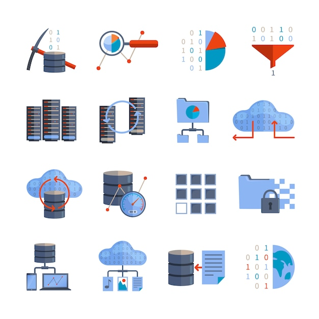Data processing icons