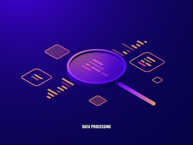 Data processing isometric icon, business analytics and statistics, magnifying glass