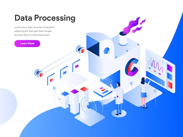Data processing isometric for website page