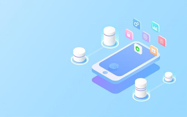 Защита данных доступ к информации на мобильном телефоне по отпечаткам пальцев. Premium векторы