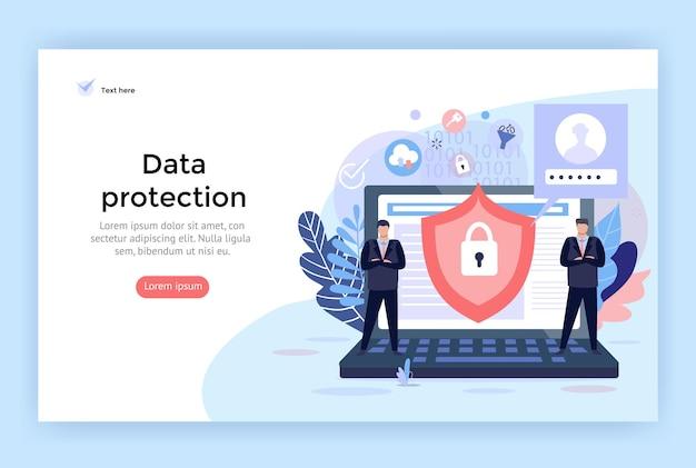 웹 디자인에 완벽한 데이터 보호 및 사이버 보안 개념 그림