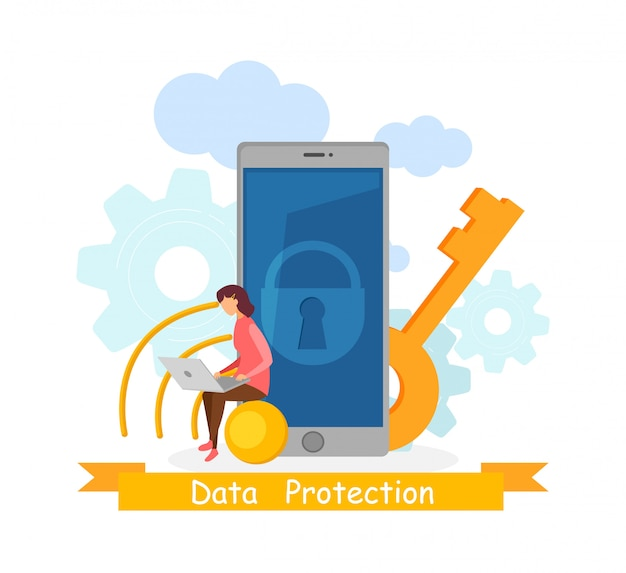 Data protection application vector illustration