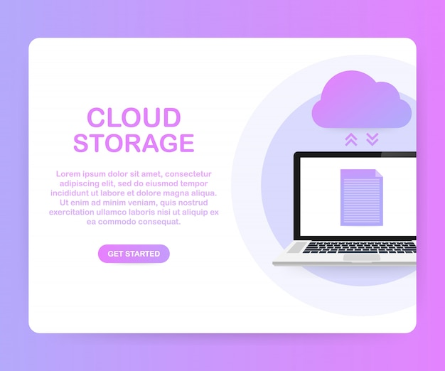 Data protection cloud storage design flat concept. online storage and cloud, cloud computing