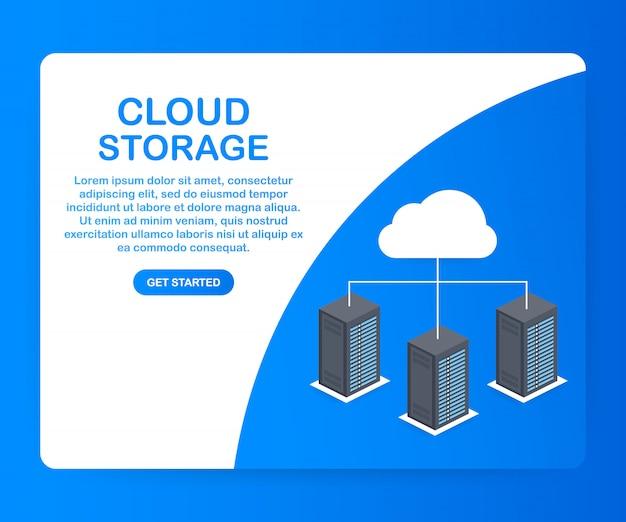 Data protection cloud storage design flat concept.