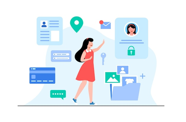データ保護の概念。クレジットカードの小切手とソフトウェアアクセスデータは機密情報です。