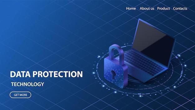 데이터 보호 개념 사이버 보안 벡터 일러스트 레이 션 노트북 개인 정보 보호 기술