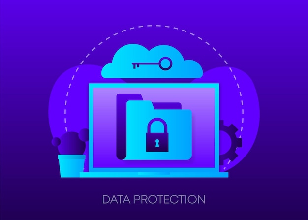 Data protection concept on dark gradient laptop with envelope open email and message on screen