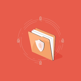 Data protection  concept, file folder security document and data safety illustration