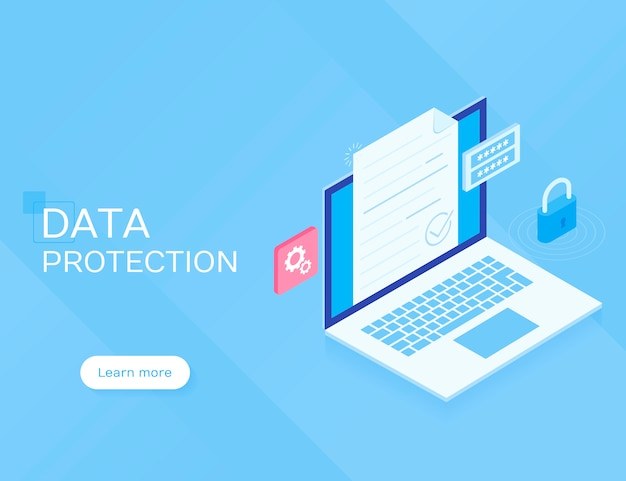 Data protection concept. flat isometric vector illustration on blue