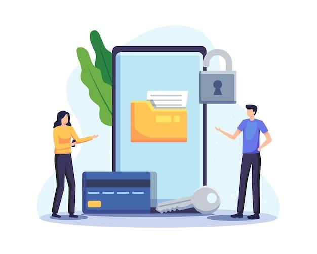 Иллюстрация концепции защиты данных. проверка кредитной карты и доступ к данным конфиденциальны. вектор в плоском стиле
