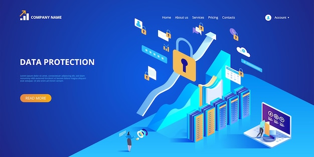 Data protection concept illustration for landing page