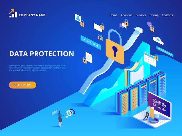 데이터 보호 개념. 방문 페이지, 웹 디자인, 배너 및 프리젠 테이션을위한 아이소 메트릭 그림.