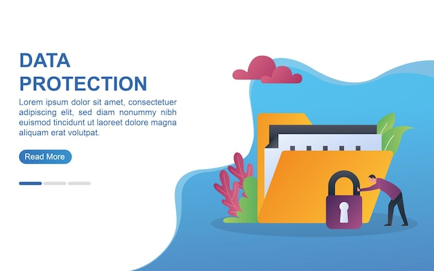 Data protection concept for landing page or web banner.