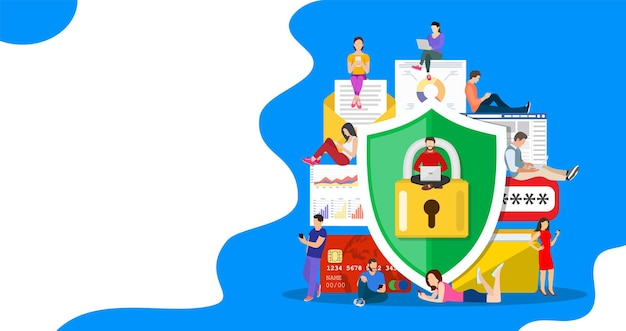 Data protection concept.safety and confidential data protection, concept with characters. internet security. vector illustration in flat style