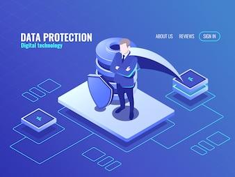 データ保護の概念、マントのスーパーヒーロー、データベースアイソメトリックアイコン、シールド保護