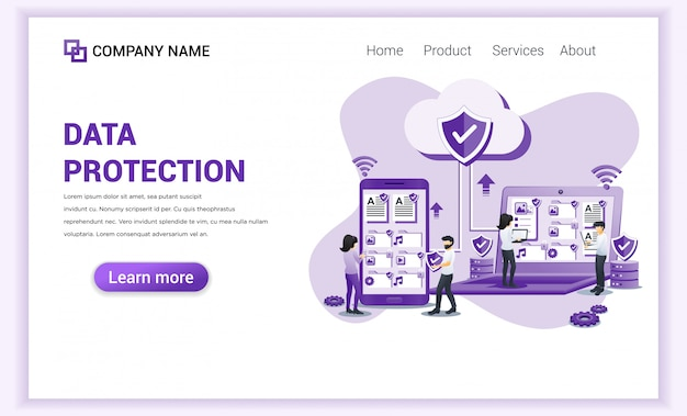 Data protection concept with characters