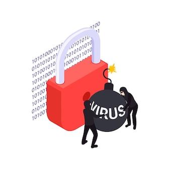Concetto di protezione dei dati con due hacker che cercano di far esplodere il blocco con una bomba virus isometrica