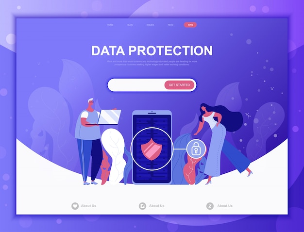Data protection flat concept, landing page web template
