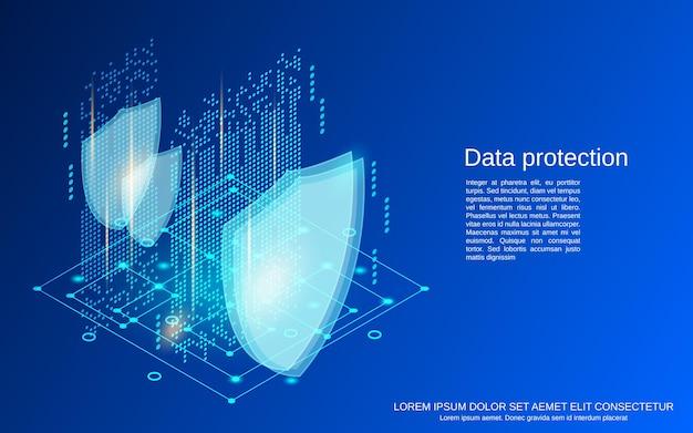 Плоские изометрические векторные иллюстрации концепции защиты данных