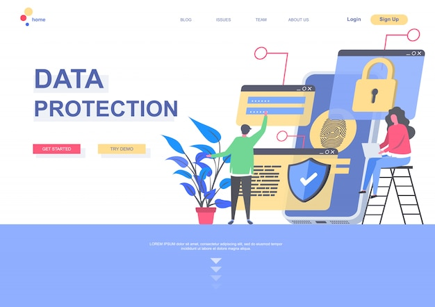 Data protection flat landing page template. data security system, personal information confidentiality situation. web page with people characters. safety networking connection illustration.