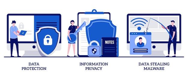 Защита данных, конфиденциальность информации, концепция кражи данных вредоносных программ с крошечными людьми. набор программного обеспечения безопасности базы данных. киберпреступность, взлом компьютерных систем.