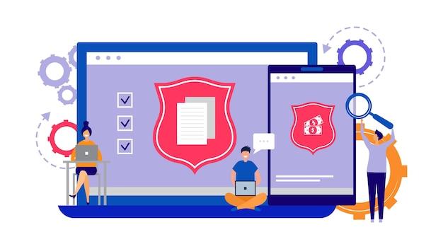Защита данных, концепция интернет-безопасности. телефон, векторная иллюстрация безопасности ноутбука. крошечные разработчики программного обеспечения для защиты плоских компьютеров. безопасность сети и защита сети финансовая