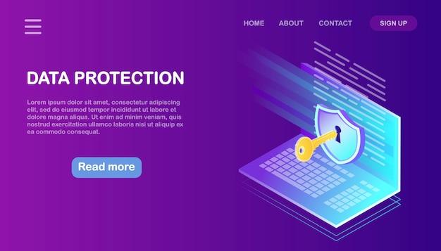 データ保護。インターネットセキュリティ、パスワードによるプライバシーアクセス。アイソメトリックコンピューター、キー、ロック