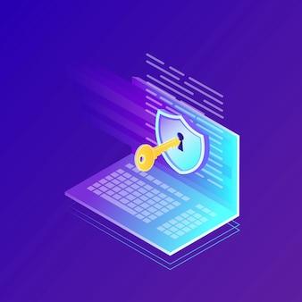 Защита данных. интернет-безопасность, конфиденциальный доступ с паролем. изометрический компьютер, ключ, замок