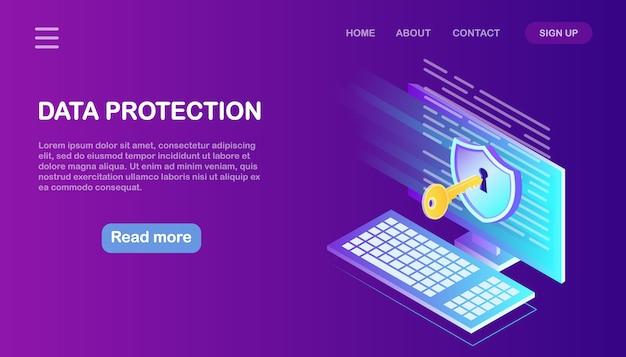 데이터 보호. 인터넷 보안, 비밀번호를 통한 개인 정보 액세스. 아이소 메트릭 컴퓨터, 열쇠, 자물쇠