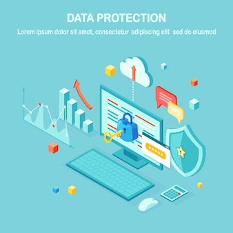 Data protection. internet security, privacy access with password.  isometric computer pc with key, lock, shield.   for banner