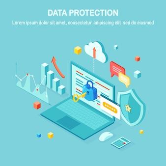Защита данных. интернет-безопасность, конфиденциальный доступ с паролем. изометрические компьютерный пк с ключом, замком, щитом, ноутбуком, графиком, диаграммой.