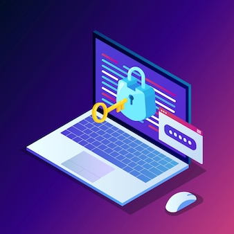 Защита данных. интернет-безопасность, конфиденциальный доступ с паролем. изометрический компьютерный компьютер с ключом, замком.