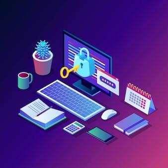 データ保護。インターネットセキュリティ、パスワードによるプライバシーアクセス。キー、ロック付き等尺性コンピュータpc。