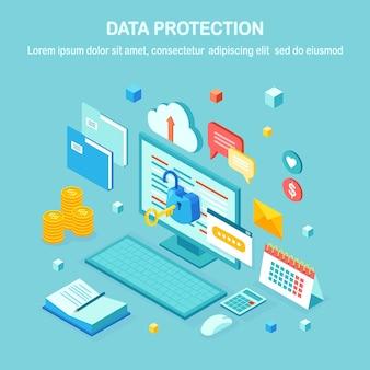 データ保護。インターネットセキュリティ、パスワードによるプライバシーアクセス。キー、オープンロック、フォルダー、クラウド、ドキュメント、ラップトップ、お金とアイソメトリックコンピューターpc。