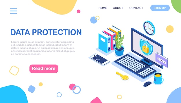 データ保護。インターネットセキュリティ、パスワードによるプライバシーアクセス。アイソメトリックコンピューター、シールド、ロック