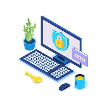 Защита данных. интернет-безопасность, конфиденциальный доступ с паролем. изометрический компьютер, щит, замок