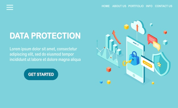 Data protection. internet security, privacy access with password.  isometric mobile phone with key, lock, shield, cloud, speech bubble, smartphone, money, chart, graph.
