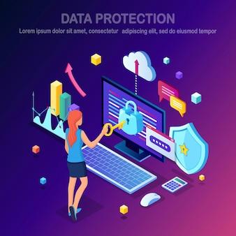 データ保護。インターネットセキュリティ、パスワードによるプライバシーアクセス等尺性の女性、ロック付きコンピュータ