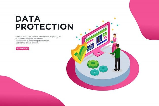 Data protection isometric vector illustration concept