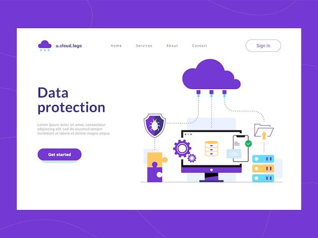 データ保護のランディングページの最初の画面。リークや不正アクセスから企業データベースを守るクラウドソリューション。ネットワークの脆弱性からの安全性。機密データのサイバー攻撃防御