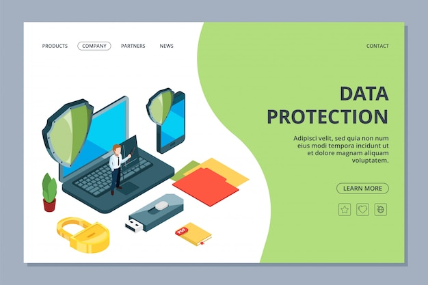 Data protection landing page. isometric mobile office, security center web page