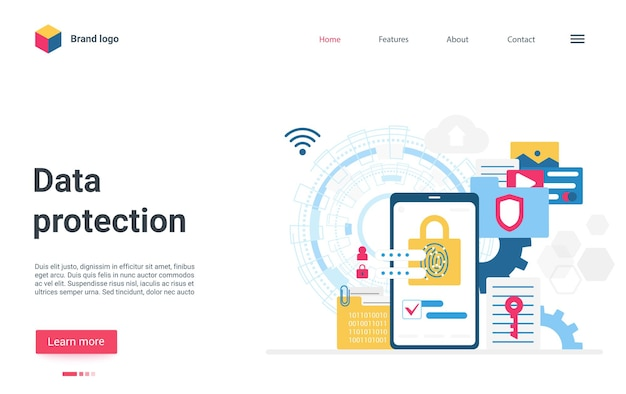 Data protection landing page smartphone with lock on screen internet security service