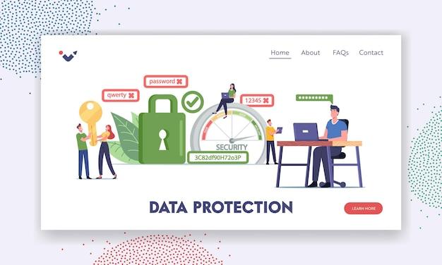데이터 보호 방문 페이지 템플릿. 문자는 인터넷 계정에 대한 강력한 암호를 만듭니다. 사무실에서 노트북 작업을 하는 남자, 암호 난이도 범위 확장. 만화 사람들 벡터 일러스트 레이 션