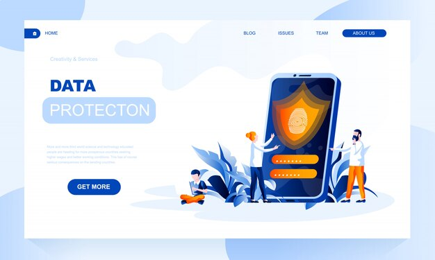 Data protection landing page template with header