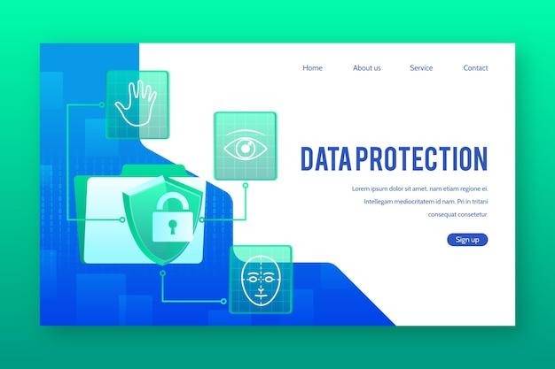 데이터 보호 방문 페이지 무료 벡터